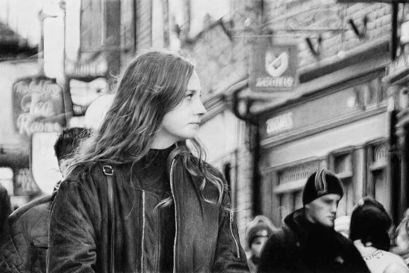 Graphite drawing of woman with long hair shopping on the Shambles in York in winter