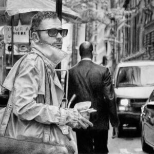 Graphite drawing of man in sunglasses with coffee and bag at crossing in New York