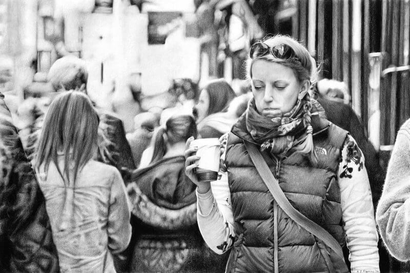 Graphite drawing of woman wearing scarf drinking coffee on the Shambles in York in winter